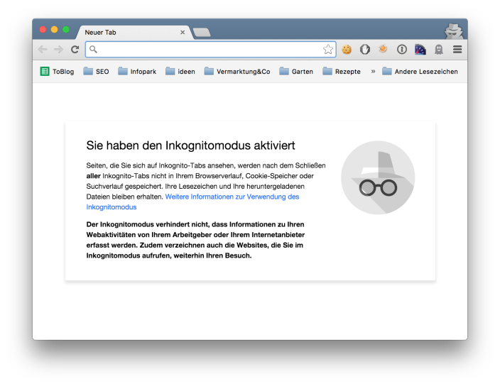 Inkognito-Fenster (Pornomodus) bei Chrome