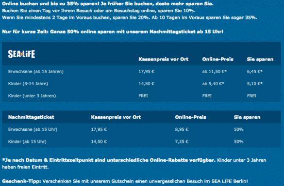 Eintritt Sea Life Berlin - Stand Dezember 2014