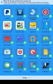 Kids Place - Auswahl der Apps und ob sie Internet bekommen oder nicht