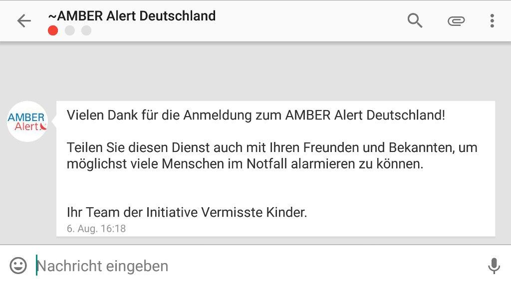 Amber Alert für Deutschland mit Threema