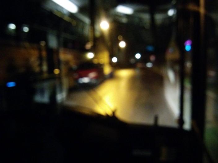 Im Bus ganz vorne.