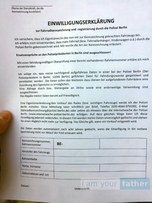 Einwilligung Fahrradcodierung Berlin