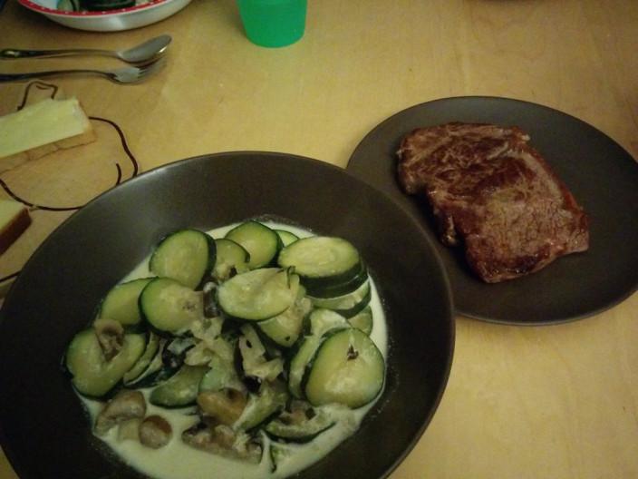 Steak und Gemüse