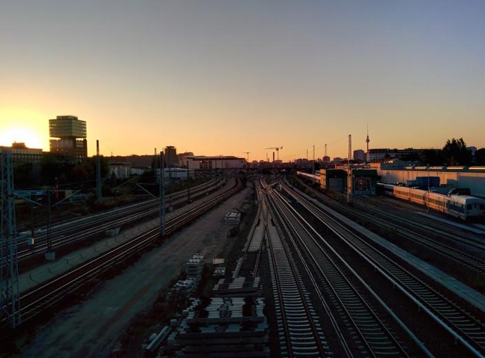 Sonnenuntergang auf der Modersohnbrücke