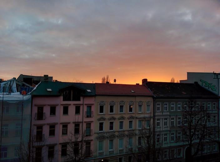 Sonnenuntergang über Berlin Friedrichshain.