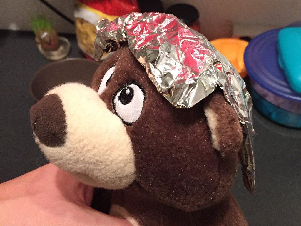 Datenschutz im Kinderzimmer, der Teddy ist vorbereitet. Aluhut.