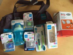 Set 3: MAM Produkte - inkl. Nuckel (leuchtet im dunkeln), Trinkflaschen, Löffel für unterwegs, praktische Kinderwagentasche und Britax RÖMER Autosonnenschutz