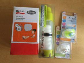 Set 4: Gemischte Packung - Selbstwärmende Kinderflasche, Nuckel (I Love Berlin), Britax RÖMER Autosonnenschutz